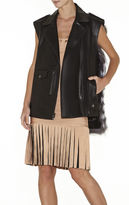 Herve Leger Alex Chevron Fur and Leather Combo Vest