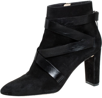 Jimmy Choo Black Suede And Crisscross Leather Block Heel Ankle Boots Size 42