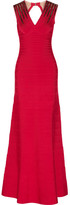 Herve Leger Bettina Embellished Bandage Gown - Red