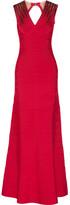 Herve Leger Bettina Embellished Bandage Gown - Red