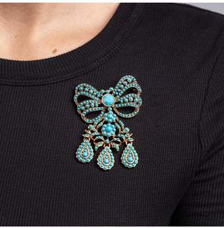 Kenneth Jay Lane Turquoise Bow Drop Pin
