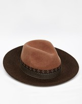 Asos Wide Brim Fedora Hat In Camel Felt With Aztec Print Band - Brown
