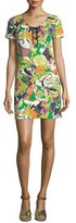 Trina Turk Paisley Lace-Up Short-Sleeve Shift Dress