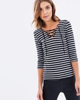 Sass Kinsley Eyelet Trim Stripe Top