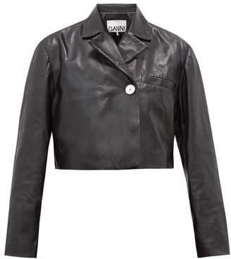 Ganni Cropped Double-breasted Leather Jacket - Black