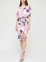 Quiz Floral Batwing Midi Dress - Mauve