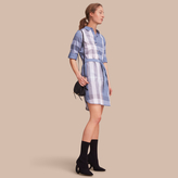 Burberry Tie-waist Check Cotton Shirt Dress