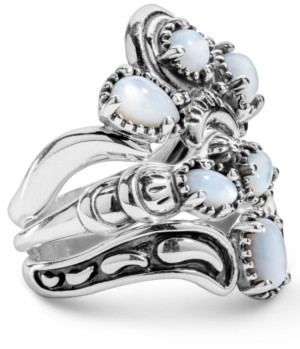 American West White Mother of Pearl Three Piece Ring Set in Sterling Silver