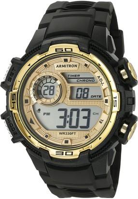 Armitron Sport Men's 40/8347BKGD Gold-Tone Accented Digital Chronograph Black Resin Strap Watch