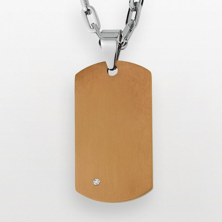 Triton Axl by stainless steel diamond accent dog tag - men