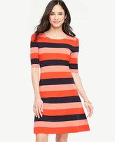 Ann Taylor Petite Striped Sweater Swing Dress