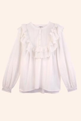Meadows White Poppy Blouse - sz 8 | cotton | white - White/White