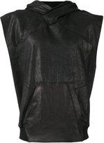 Julius sleeveless leather hoodie - men - Cotton/Leather - IV