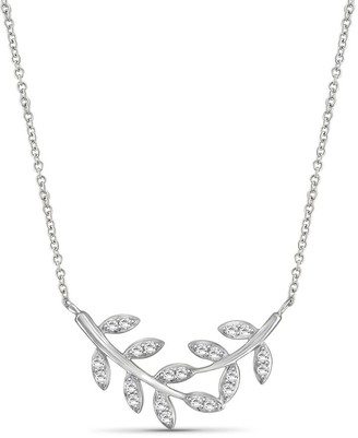 JewelonFire 1/4 Ct Genuine White Diamond Leaf Necklace in Sterling Silver - Assorted color