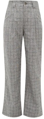 Ganni Checked High-rise Straight-leg Crepe Trousers - Womens - Grey