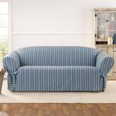 Sure Fit Grain Sack Stripe One Piece Box Cusion Slipcover for Sofa