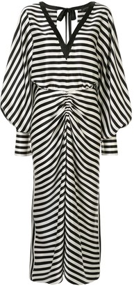 Lee Mathews striped long-sleeve dress