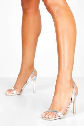 boohoo Metallic Slingback Glossy Heel Sandals