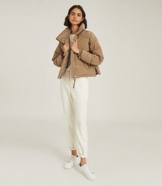 Reiss Corey - Puffer Jacket With Funnel Neckline in Camel