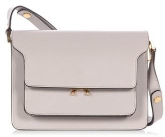 Marni Trunk Medium Leather Shoulder Bag - Light Grey