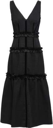Amanda Wakeley Crepe-paneled Fringe-trimmed Houndstooth Jacquard Midi Dress