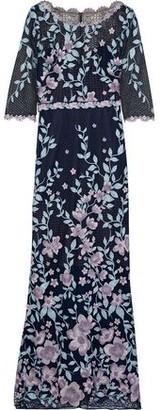 Marchesa Floral-appliqued Macrame Lace Gown