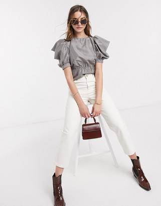 Topshop gingham volume sleeve blouse in mono