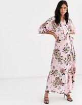 Liquorish satin floral wrap dress