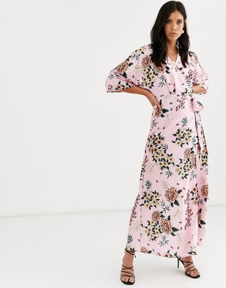 Liquorish satin floral wrap dress