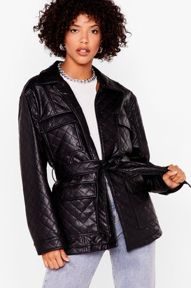 Nasty Gal Womens Callin' It Quilts Faux Leather Belted Jacket - Black