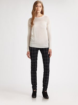 L'Agence Mesh-Panel Silk and Cashmere Sweater