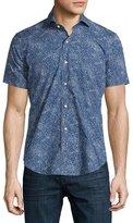Peter Millar Ocean Traffic Printed Short-Sleeve Sport Shirt, Barchetta Blue