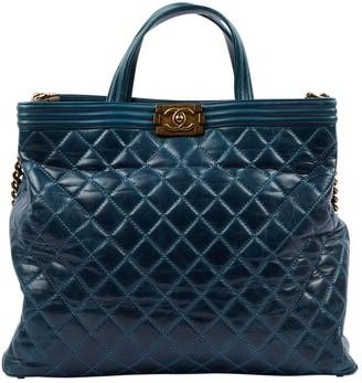 Chanel Boy Tote Blue Leather Handbags