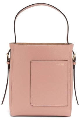Valextra Small Grained-leather Tote Bag - Light Pink