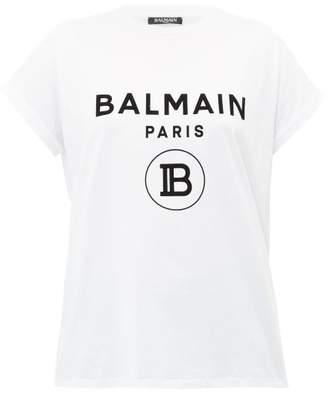 Balmain Flocked-logo Cotton T-shirt - Womens - White Black