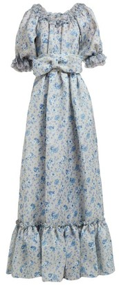 Luisa Beccaria Ruffled Floral-print Silk-gauze Gown - Blue Print