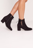 Missguided Lace Side Detail Ankle Boot Black