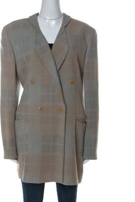 Giorgio Armani Bicolor Checked Wool Blend Double Breasted Blazer L