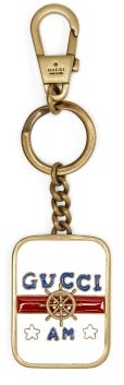 Gucci Anchor And Enamel Key Ring - White