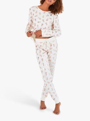 Chelsea Peers Pineapple Print Pyjama Set, Ivory/Rose Gold