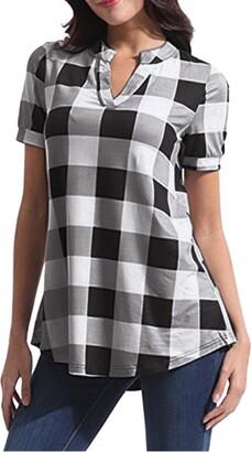 Toamen Women's Top Toamen Womens T-Shirt Tops Sale Clearance Casual V-Neck Plaid Printed Short Sleeve Irregular Hem Loose Tee Shirt Tunic Blouses(White 16)