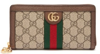 Gucci Ophidia Gg-supreme Leather-trimmed Wallet - Grey Multi