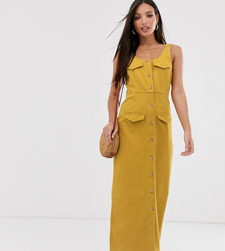 Asos Tall DESIGN Tall denim button down midi dress in mustard-Orange