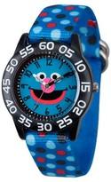 Sesame Street Boys' Black Plastic Time Teacher Watch - Blue