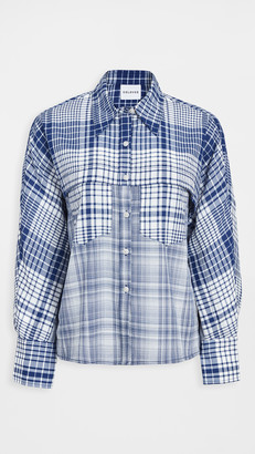 Colovos Check Front Yoke Pocket Blouse