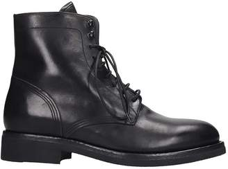 Buttero Combat Boots In Black Leather