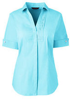 Lands' End Women's Short Sleeve French Cuff Tuxedo Stretch Shirt-Aqua Shell