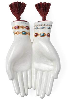 Gucci Hand-shaped trinket tray with vintage bracelets