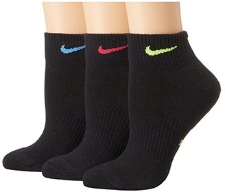 Nike Performance Cushioned Quarter Training Socks 3-Pair Pack (Multicolor) Women's Quarter Length Socks Shoes