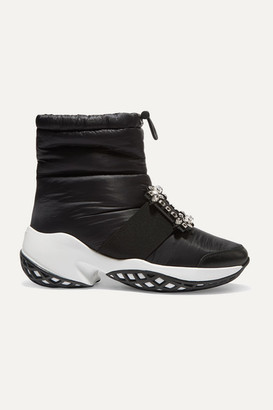 Roger Vivier Run Buckled Shell And Leather Ankle Boots - Black